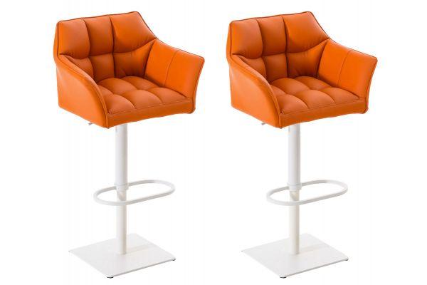 2er Set Barhocker Damaso Kunstleder weiß orange