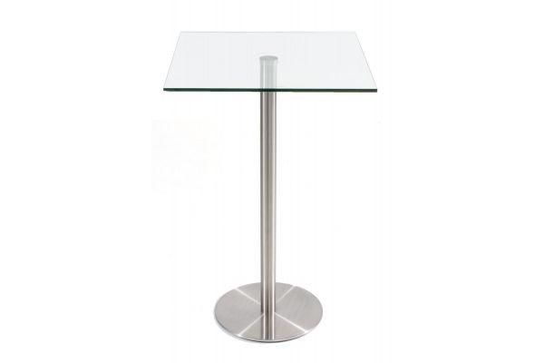 Stehtisch Vitral 70x70 H:110 Edelstahl klarglas
